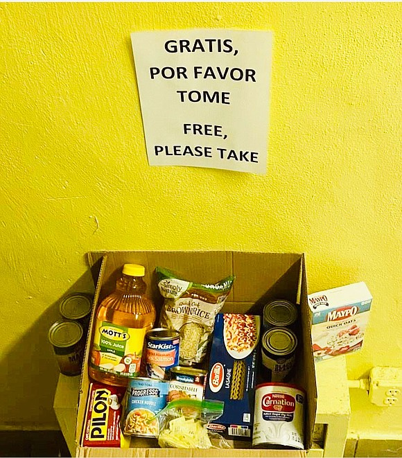 In my East Harlem building, a small corner of the lobby serves as a mini food pantry all due to ...