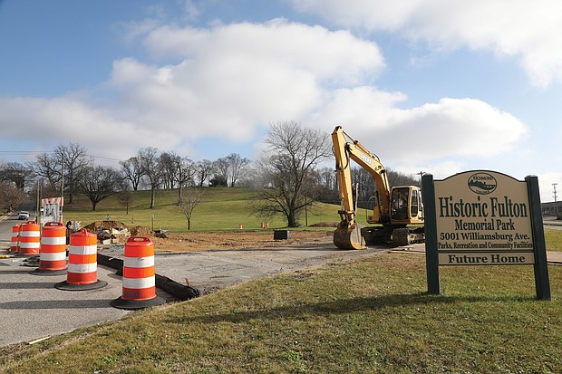 Work continues on the creation of a memorial park to the once vital Black community of Fulton that was eliminated by urban renewal 50 years ago. Location: Goddin Street and Williamsburg Road at the foot of Powhatan Hill in the East End. Spencer E. Jones III and other former residents have pushed for a place of honor and remembrance for the community they loved and lost in the late 1960s. In the works for three years, the project to remake the site began just before Thanksgiving. Robbie Danil of ADDO Enterprises is spearheading the development that he said would take about six months. This is the first phase for which the city is spending about $925,000 to create a place of reflection with trees and other amenities. Additional work is planned in a second phase.