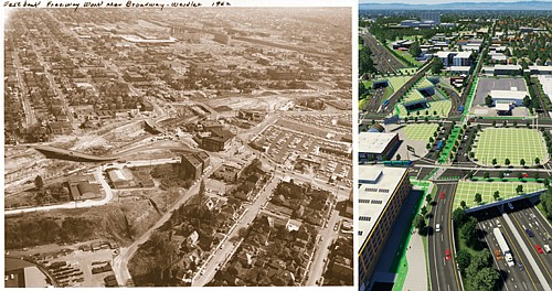 At left, a historic photo from 1962 shows a swath of Portland centered at Broadway and Weidler that is cleared for construction of the I-5 freeway. At right, outdoor plazas as caps over I-5 at the Rose Quarter are envisioned as part of a new plan to increase the lanes of travel on the freeway. The proposal drew wide opposition for not addressing the economic development needs of the historic African American community which was first displaced by the freeway nearly 50 years ago