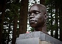 A memorial bust of York, the black slave who was part of the Lewis & Clark expedition, emerged in Mt Tabor Park on Saturday.  (AP photo)