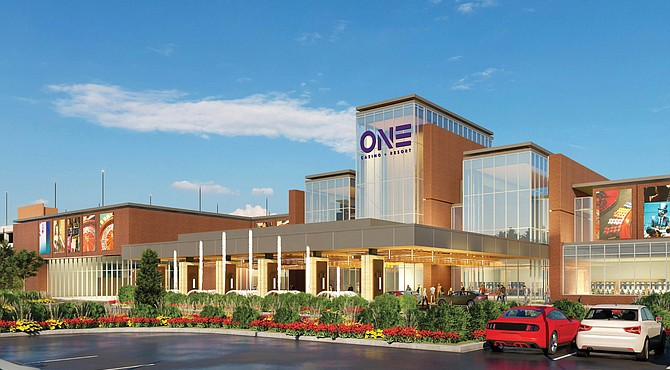 An artist rendering shows One Casino + Resort, a $517 million project proposed for South Richmond by Urban One, the Black-owned media conglomerate. The group said it would be the first Black-owned gaming and entertainment center in the nation.