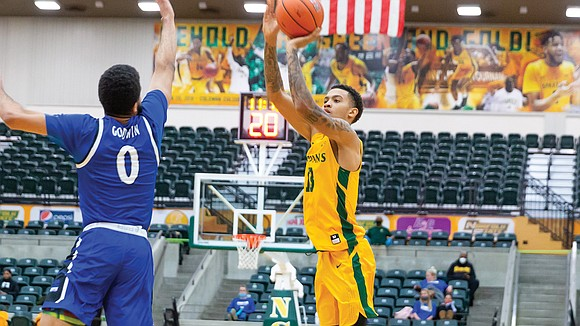 Daryl Anderson Jr. is Norfolk State University's spark from the arc. Most of his points come in bunches of threes.