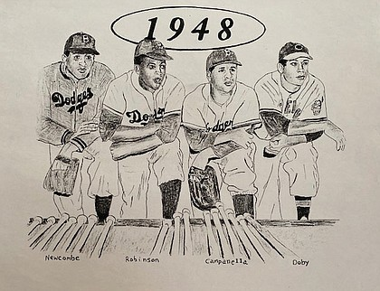 1948 players: Don Newcombe, Jackie Robinson, Roy Campanella and Larry Doby were the first Black All-Stars after starting careers in the Negro Leagues.
