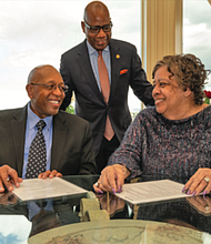 The $20-million pledge by Calvin and Tina Tyler to Morgan State University is the largest private donation from an alumnus in university history and is believed to be the largest contribution of its kind to any Historically Black College or University nationwide from an alum. Calvin and Tina Tyler with Morgan State University President David K. Wilson.