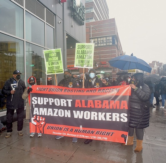 In support of Amazon workers in Alabama, the December 12th Movement held a rally at Harlem's Whole Foods on 125th ...