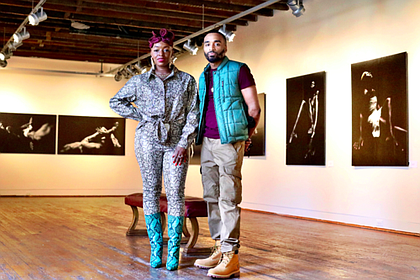 Founder of Necessary Tomorrow's Sharayna Christmas standing in Draped In Dark w/ Photographer Kirby Griffin.