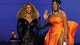 "Beyonce, left, and Megan Thee Stallion accept the award for best rap song for ""Savage"" at the 63rd Annual Grammy Awards held Sunday at the Los Angeles Convention Center."