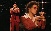 """In this video grab provided by CBS and the Recording Academy, Anderson .Paak, left, and Bruno Mars, together as Silk Sonic, perform """"Leave The Door Open."""""""