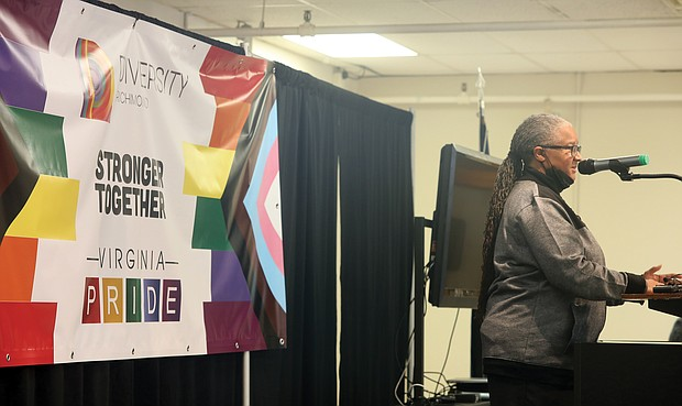 """Luise """"Cheezi"""" Farmer, board president of Diversity Richmond, announces the merger of the two leading LGBTQ organizations in the Richmond region during a recent news conference."""