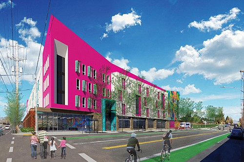 An artist's rendering shows the future four-story, multi-family affordable housing development coming to the former commercial property at Northeast Killingsworth and Cully.