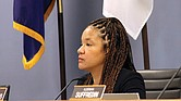 In this Nov. 25, 2019, file photo, Alderman Robin Rue Simmons, 5th Ward, proposes a reparations fund during a City Council meeting in Evanston, lll. Using tax money from the sale of recreational marijuana, the Chicago suburb of Evanston has become the first U.S. city to make reparations available to its Black residents for past discrimination and the lingering effects of slavery. Ms. Simmons proposed the program that was adopted in 2019.