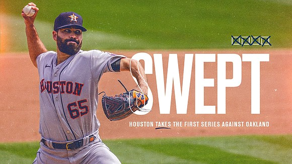 Houston (4-0) used a strong combination of hitting and pitching to take all four games from the defending A.L. West ...