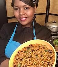 Eileen Barett holds rice and beans