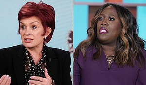 """Sheryl Underwood (right) is sharing her thoughts about co-host Sharon Osbourne leaving """"The Talk"""" after their fiery debate. Mandatory Credit:CBS"""