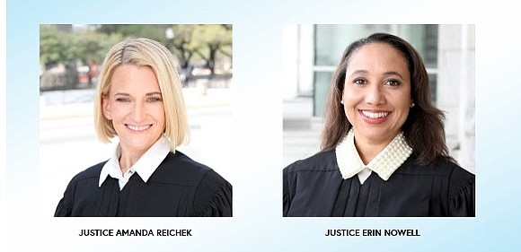 Justice Erin Nowell and Justice Amanda Reichek, both of whom sit on the 5th District Court of Appeals based in ...