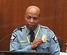 n this image from video, Minneapolis Police Chief Medaria Arradondo testifies Monday about the knee restraint used by former officer Derek Chauvin in the May 25 arrest and killing of George Floyd.