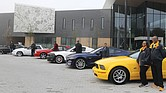 Several members of the Victory 7 Mustang Club show off their cars last Saturday outside the Fairfield branch of the Henrico County Public Library in preparation for the 57th birthday of the iconic car. They are, from left, Melody Chase, black 1985 Mustang GT; Tony Chase, white 1991 Mustang LX; Jack Glass, red 1992 Mustang GT; Greg Johnson, white 2012 Mustang GT; Janet Spencer, blue 2019 Mustang GT; and Jackie and Thomas Victory, founder of the club, yellow 2005 Mustang GT.