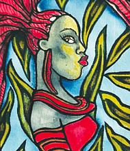 Espi Frazier's 35 x 15 inch Red Queen Wall Hanging will be auctioned the week prior and the evening of the event.