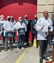 Mayoral candidate Eric Adams being endorsed by the Uniformed Fire Officers Association