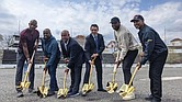 Joining in the ceremonial groundbreaking on April 14 for the $94 million renovation of Hinchliffe Stadium are, from left, Larry Doby Jr., son of the late trailblazing MLB hall of famer Larry Doby Sr. who grew up in Paterson, N.J.; former major leaguer Harold Reynolds; former Mets manager Omar Minaya; Paterson Mayor Andre Sayegh; and former major leaguers C.C. Sabathia and Willie Randolph.