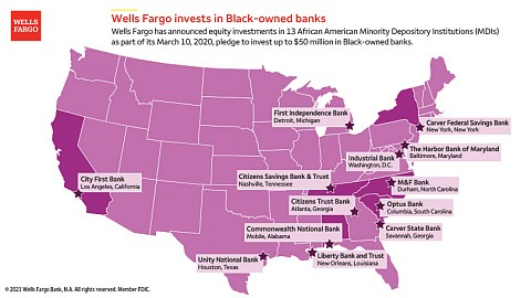 Wells Fargo has finalized investments in two additional Black-owned banks...