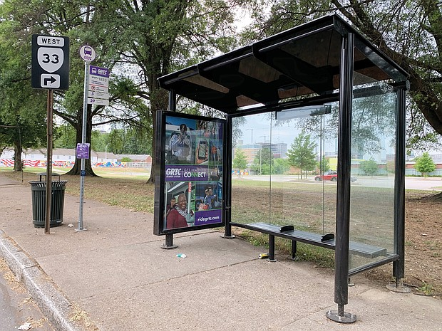 New GRTC bus shelter in 1800 block of Mosby Street.