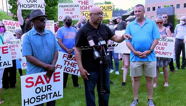 Calumet City Mayor speaks during a demonstration opposing the downsizing of Franciscan Health's St. Margaret Hospital in Hammond, Ind. Photos provided by Sean Howard