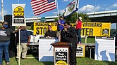 Rev. William J. Barber II, co-chair of the Poor People's Campaign, delivers a speech Monday targeting U.S. Sen. Joe Manchin's opposition to a proposed landmark overhaul of U.S. election law in Charleston, W.Va.