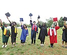 The valedictorians at Richmond's public high schools celebrate during a group photo last Saturday at Byrd Park. They are, from left, Te'Vonya Jeter of Huguenot; Aissatou Barry of Richmond Community; Airhiez Cabrera of Armstrong; Harold Aquino-Guzman of George Wythe; Terri Lee ofFranklin Military Academy; Mary JanePerkins-Lynch ofThomas Jefferson; and Abena Williams of Open High. Right, A'Nya Davis of John Marshall.