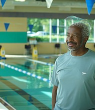 Local Black triathlete Morgan Spriggs after volunteering his time to teach swim lessons at the Sherwood Regional Family YMCA. In response to the national conversation generated by the Black Lives Matter movement and in motivation to address inequalities in water safety education in the BIPOC community, Spriggs has partnered with the Y to teach swim lessons specifically geared to the Black community and other people of color.