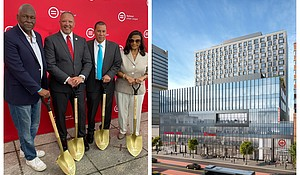 (l-r) Keith Wright, National Urban League President and CEO Marc Morial, former NYS Gov. David Paterson and Assemblywoman Inez Dickens/Rendering of the Urban League Empowerment Center