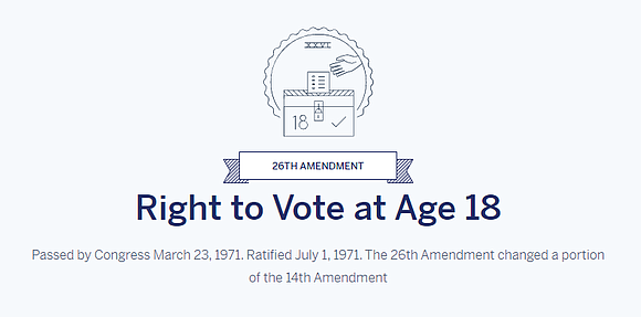 It will be 50 years since the ratification of the 26th Amendment on July 1...