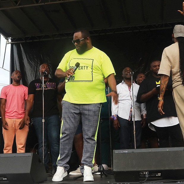 """More than 1,000 people relaxed on the lawn of Virginia Union University, enjoying the sounds of local gospel groups at """"Juneteenth: Sounds of Freedom Celebration"""" on Saturday evening. Highlights included performances by the Grammy Award-winning Hezekiah Walker, above, and the VUU Choir, led by David Bratton."""