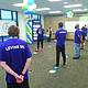 """Baltimore Ravens safety Anthony Levine stopped by Southeast Baltimore's Amazon fulfillment center to lead a """"WorkingWell"""" stretch and exercise routine for the company's employees on June 11, 2021."""