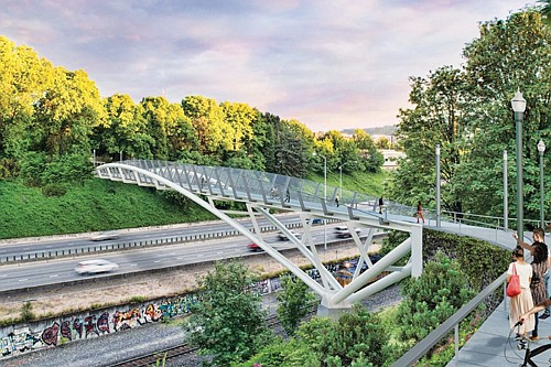 After over a year of construction, a new pedestrian bridge over I-84, connecting the Lloyd District of northeast Portland with ...