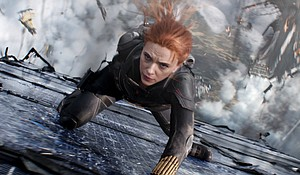 """Scarlett Johansson stars as Black Widow in the new Marvel movie. Millions of fans are about to return to a movie theater for the first time since """"social distancing"""" began. Mandatory Credit:Courtesy Marvel Studios"""