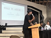 Stix, the founder of Think Watts, spoke passionately during the BWI Town Hall.