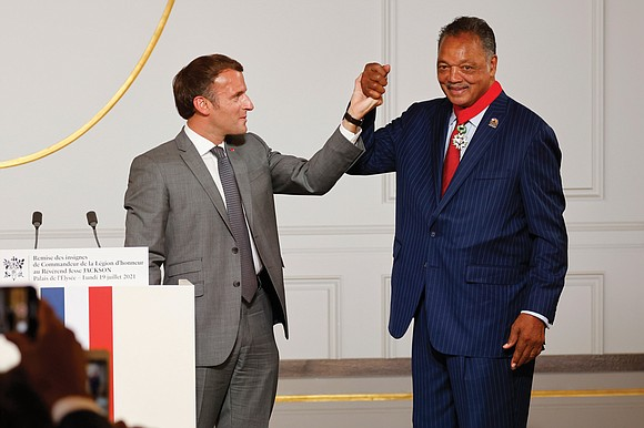 """The Rev. Jesse Jackson was awarded France's highest award on Monday for helping """"change the destiny of the United States"""" ..."""