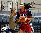 A'ja Wilson was the leading U.S. scorer in the game against Nigeria