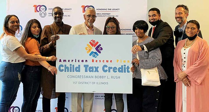 Congressman Bobby Rush joined families from Ada S. McKinley to discuss the benefits of the Child Tax Credit. Photo by Tia Carol Jones