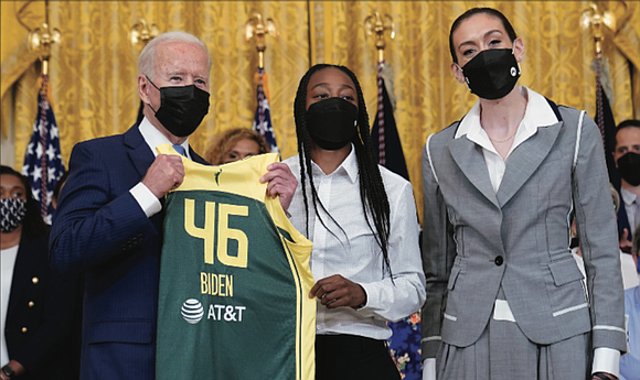 President Biden honored the 2020 WNBA champions Seattle Storm on Monday, celebrating their success on the court and hailing the ...