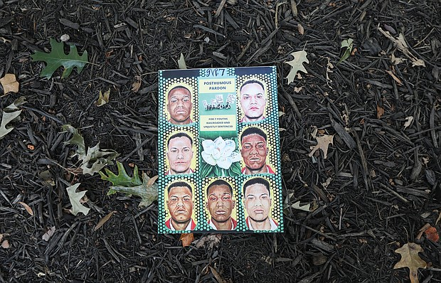 A poster contains drawings of the Martinsville Seven who were pardoned posthumously. They are Francis DeSales Grayson, 37; Booker T. Millner, 19, Frank Hairston Jr., 18; Howard Lee Hairston, 18; James Luther Hairston, 20; Joe Henry Hampton, 19; and John Clabon Taylor, 21.