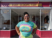 Ms. Kamara stands outside of Ruby Scoops, her ice cream shop on Brookland Park Boulevard on North Side, where she serves a variety of her ice cream and sorbet creations. Her ultimate goal is to open more locations.