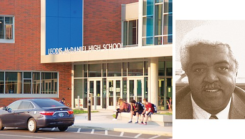Portland Public Schools celebrates the reopening of Leodis McDaniel High School, a fully modernized 21-century learning environment for the former Madison High School campus in northeast Portland. Historical photo of Mr. McDaniel is on right.