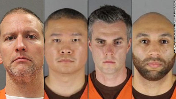 Derek Chauvin (from left), J. Alexander Kueng, Thomas Lane and Tou Thao, the former Minneapolis police officers charged with violating George Floyd's civil rights, are pictured in photos from the Hennepin County Sheriff's Office in Minnesota.