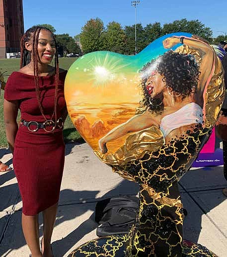 The 11 hearts decorated and designed by artists for Parade of Hearts will be on display in Hyde Park, Back of the Yards, Chatham, Douglas, Grand Boulevard, Greater Grand Crossing, Kenwood, Oakland, South Shore, Washington Park and Woodlawn. Photos by Tia Carol Jones