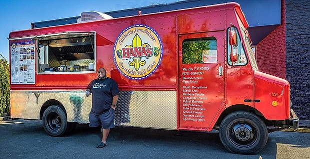 Alan Bell outside his Hana's PDX food cart. Bell is on his way of getting back into business after becoming the victim of a recent random shooting. Photo courtesy Portland Police Bureau.