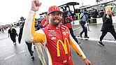 Bubba Wallace celebrates after winning the NASCAR Cup Series auto race Monday in Talladega, Ala., where he led the pack before a rain delay.