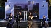 Former President Obama and former First Lady Michelle Obama use shovels to ceremonially break ground Tuesday to officially kick off construction of the Obama Presidental Center in Jackson Park on Chicago's South Side. They are joined by Illinois Gov. J.B. Pritzker, left, and Chicago Mayor Lori Lightfoot, right.