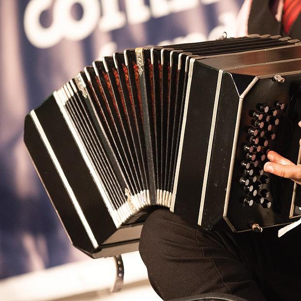 Rodolfo Zanetti plays the bandoneon, an instrument of the accordion family, with the Pedro Giraudo Tango Ensemble.